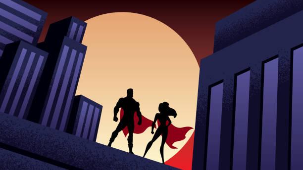 illustrations, cliparts, dessins animés et icônes de super héros couple ville nuit - super héros