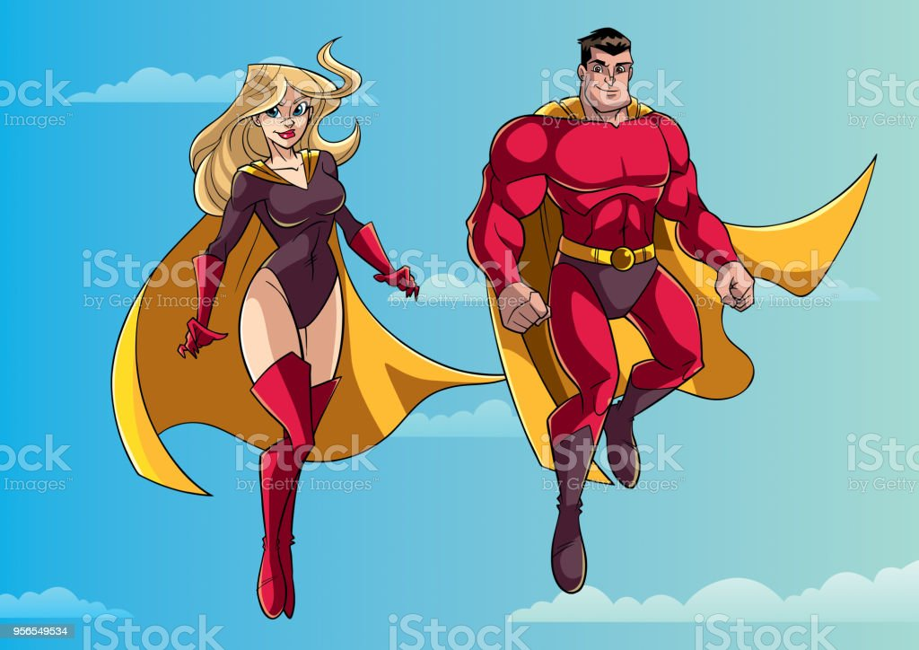 Superhelden-Paar im Himmel fliegen - Lizenzfrei Bildhintergrund Vektorgrafik