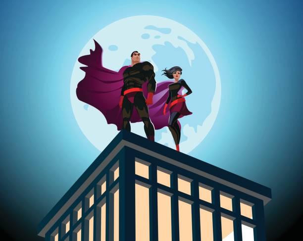 Superhero Couple. Male and female superheroes. Cloudy sky. Vector illustration Superhero Couple. Male and female superheroes. Cloudy sky. Vector illustration alternative pose stock illustrations