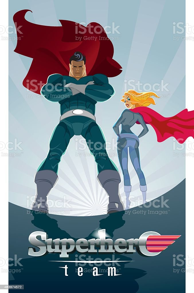 Superhero Couple: Male and female superheroes on a skyscraper ro vector art illustration