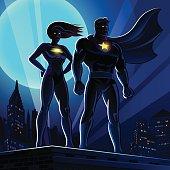 Superhero Couple: Male and female superheroes. Vector illustration