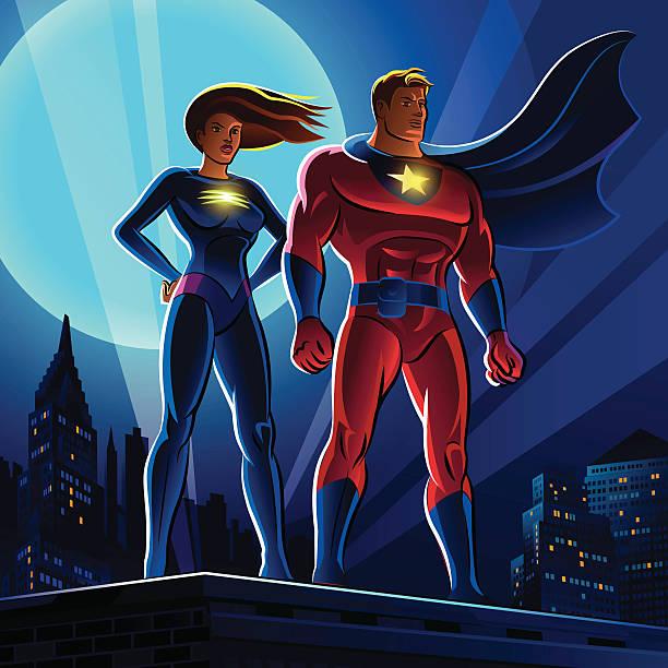 superheld paar.  männliche und weibliche superhelden.  vektor-illustration - superwoman stock-grafiken, -clipart, -cartoons und -symbole