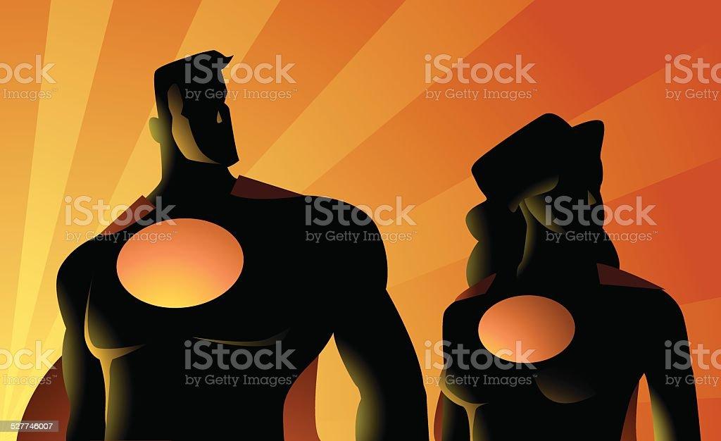 Superhero Couple Silhouette vector art illustration