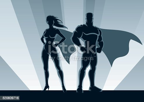 Male and female superheroes posing in front of light. No transparency used. Basic (linear) gradients used for the background. A4 proportions.