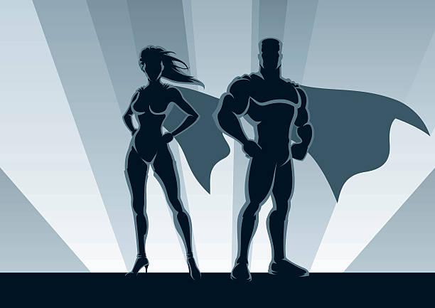 superheld paar - superwoman stock-grafiken, -clipart, -cartoons und -symbole