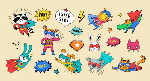 illustrazioni stock, clip art, cartoni animati e icone di tendenza di superhero cute hand drawn animals, vector characters - bambino cane
