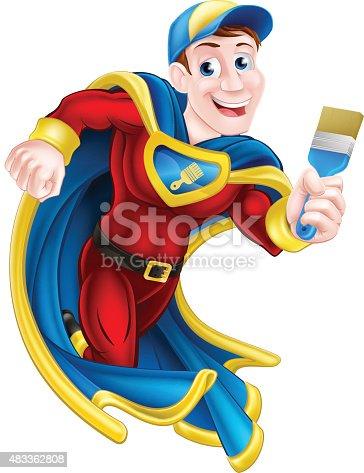 Illustration of a cartoon decorator or painter superhero mascot holding a paintbrush