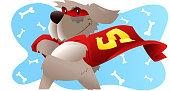 Superhero dog standing confident with hero costume