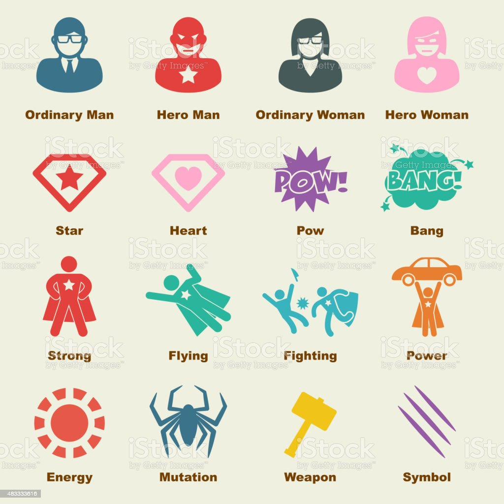 superhero elements vector art illustration