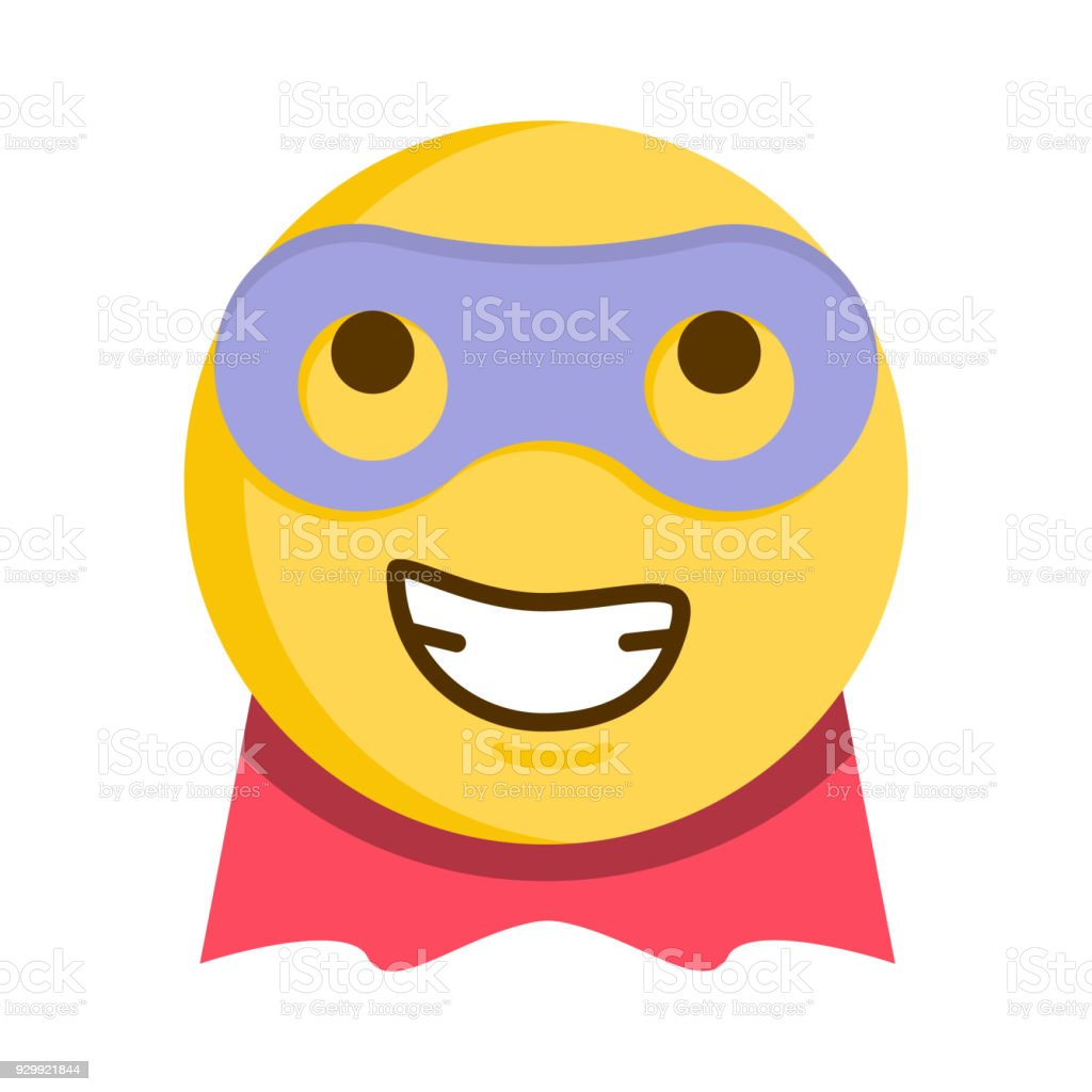 Superhero Emoticon Vector Emoji Smiley With Mask And Cape Stock  Illustration - Download Image Now