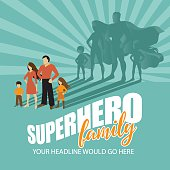 Superhero Family burst background