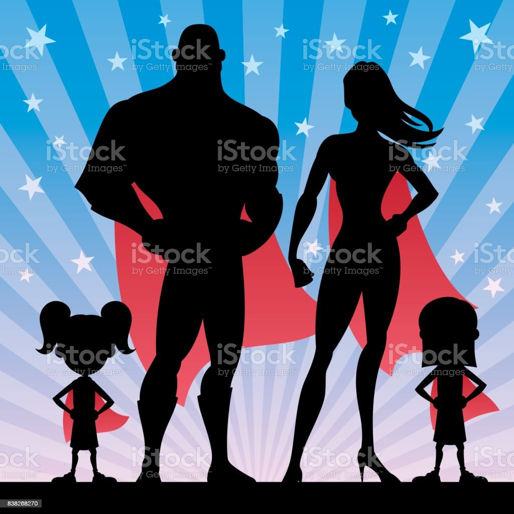 Superhero Family Girls vector art illustration