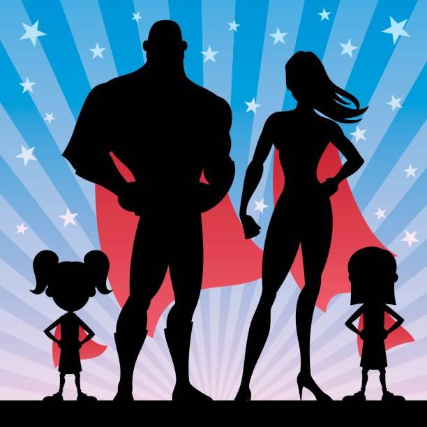 superhelden-familie-mädchen - superwoman stock-grafiken, -clipart, -cartoons und -symbole
