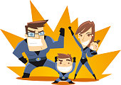 Superhero Family team ready to work vector illustration.