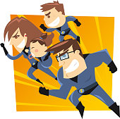 Superhero family running to the rescue. Four members heroes family, with blue suits vector illustration.