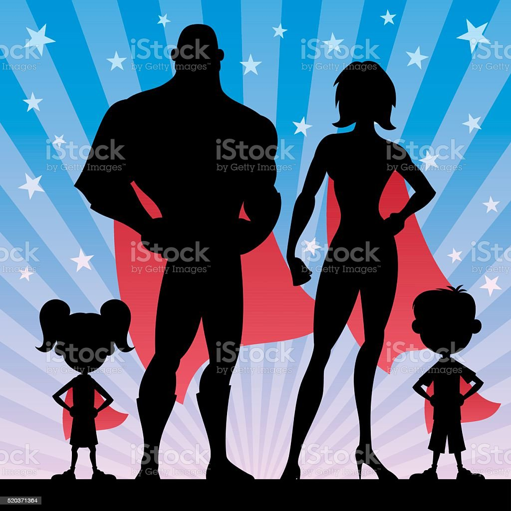 Superhero Family vector art illustration