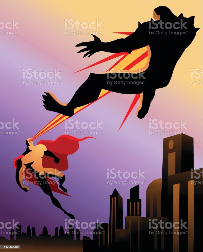 スーパー ヒーローの戦いモンスター レトロなシルエット ベクターアートイラスト