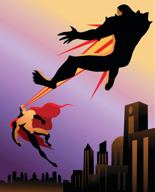 スーパー ヒーローの戦いモンスター レトロなシルエット - 漫画のモンスター点のイラスト素材/クリップアート素材/マンガ素材/アイコン素材