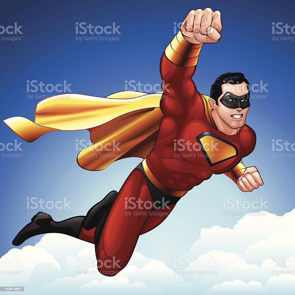 Superhero Flight vector art illustration