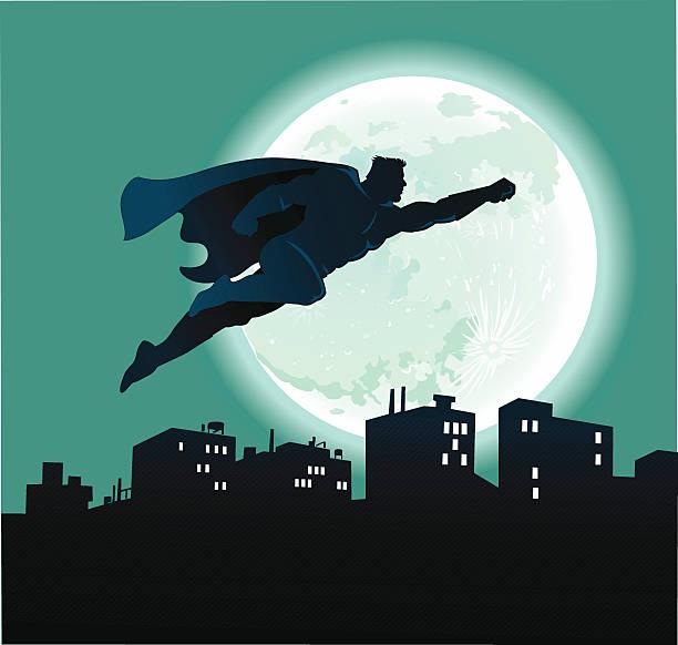 illustrations, cliparts, dessins animés et icônes de super-héros voler au-dessus de ville de nuit et de la pleine lune - modèles de bande dessinée