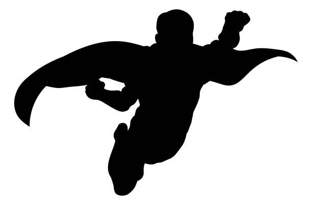 bildbanksillustrationer, clip art samt tecknat material och ikoner med superhjälte flygande siluett - superhjälte isolated