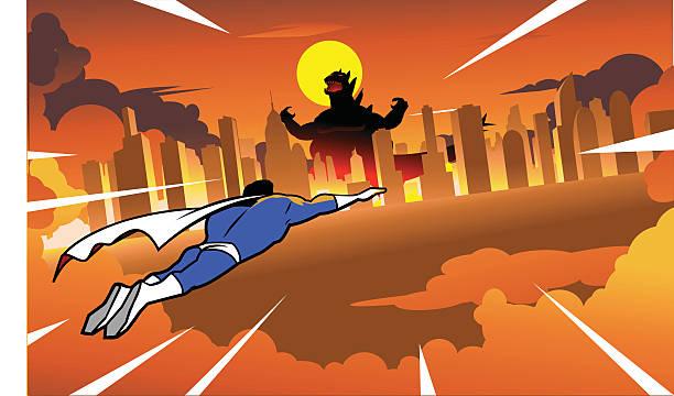 superhero flying to fight rampaging monster in the city - cartoon monster stock-grafiken, -clipart, -cartoons und -symbole