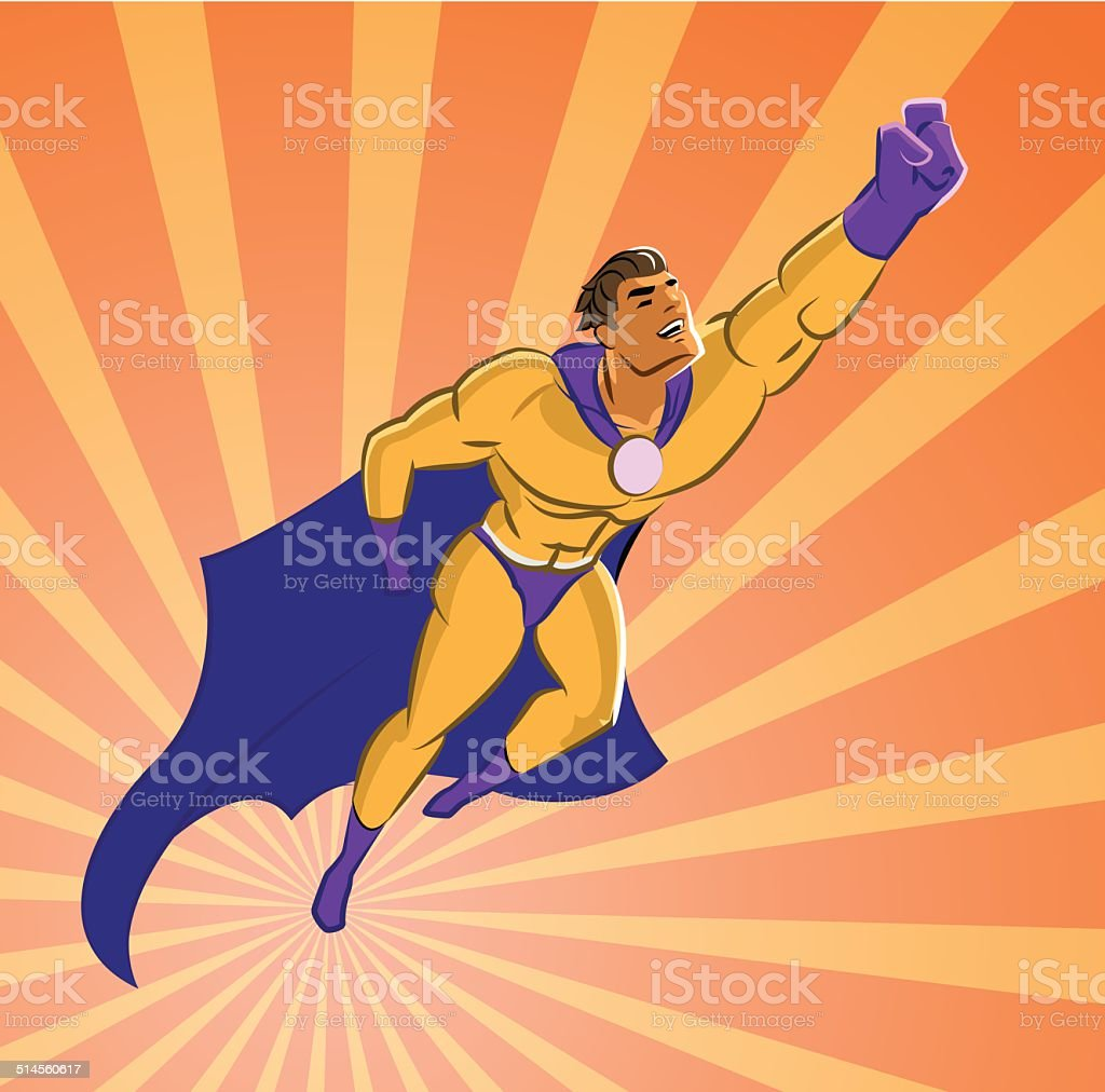 Superhero flying up vector art illustration