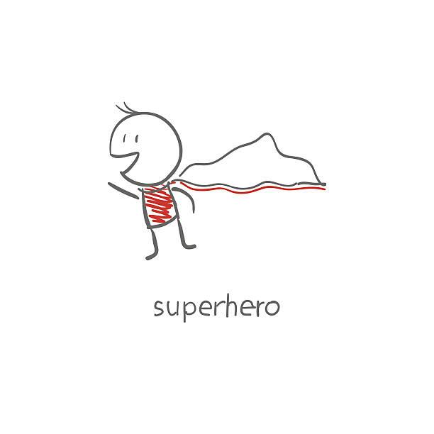 Superhero flying. vector art illustration