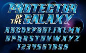Metallic effect letters and numbers on an universe background.