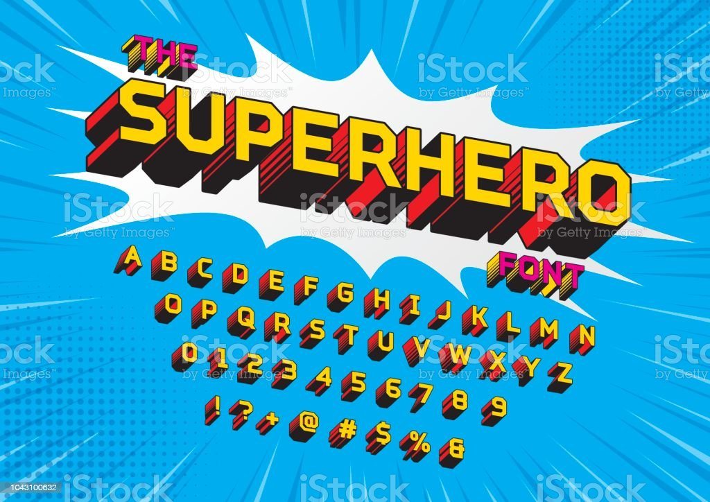 SuperHero font vector art illustration