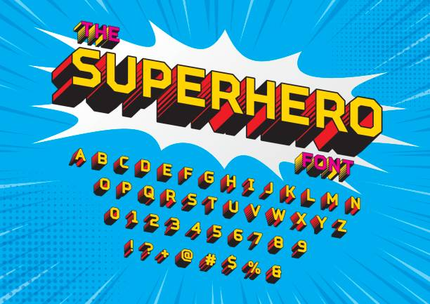 superhero font - журнал комиксов stock illustrations