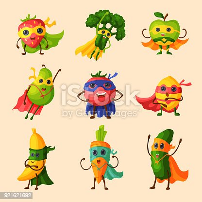 Superhero fruits vector fruity cartoon character of super hero expression vegetables with funny apple banana or pepper in mask illustration fruitful vegetarian diet set isolated on white background.