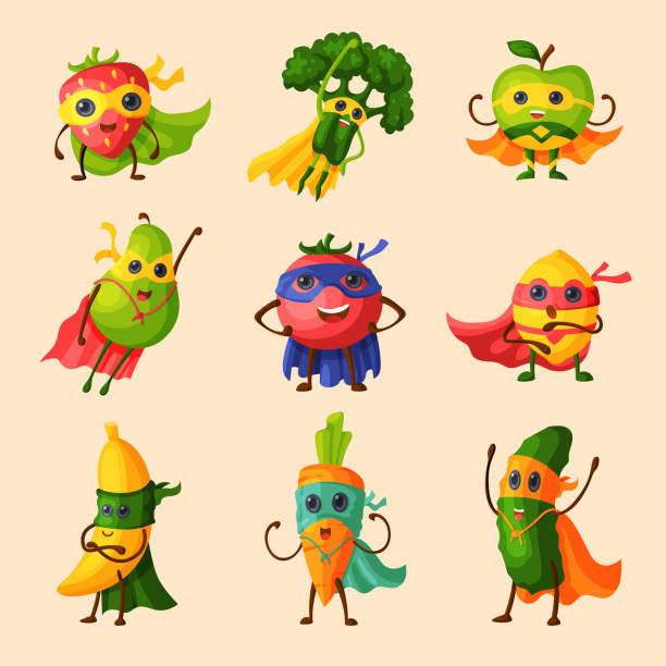 illustrations, cliparts, dessins animés et icônes de fruits de super-héros vector personnage fruité de légumes expression super héros avec drôle de pomme banane ou poivre en masque illustration fructueuse végétarien régime ensemble isolé sur fond blanc - boisson et alimentation de bande dessinée