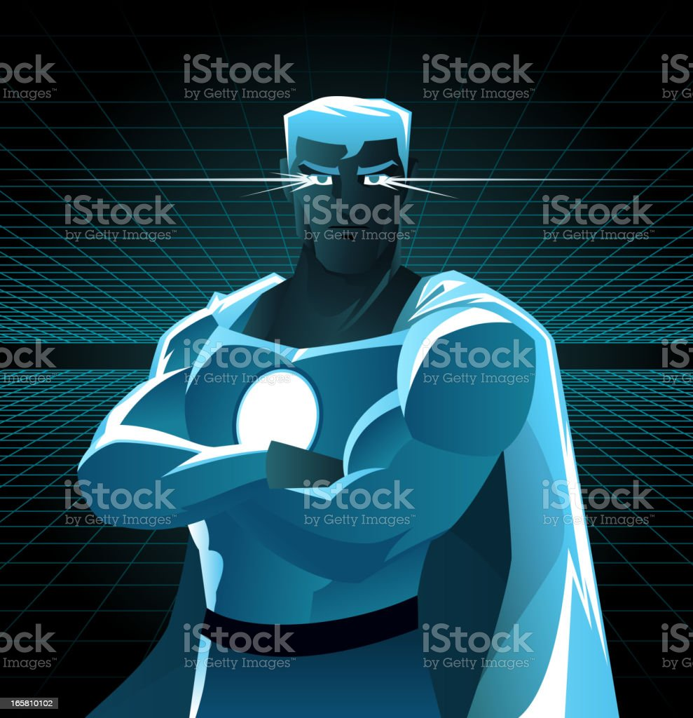 Superhero galaxy with shining eyes and blue costume royalty-free stock vector art