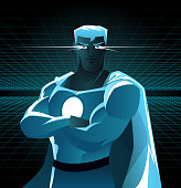 Superhero galaxy with shining eyes and blue costume