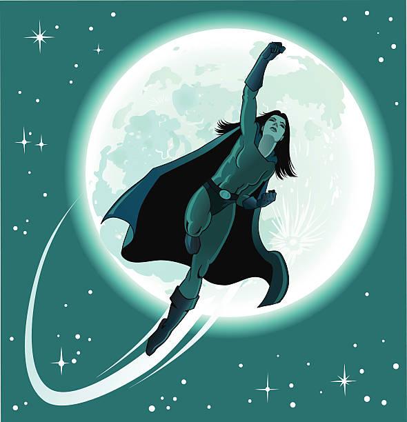 superhero mädchen vom mond - superwoman stock-grafiken, -clipart, -cartoons und -symbole