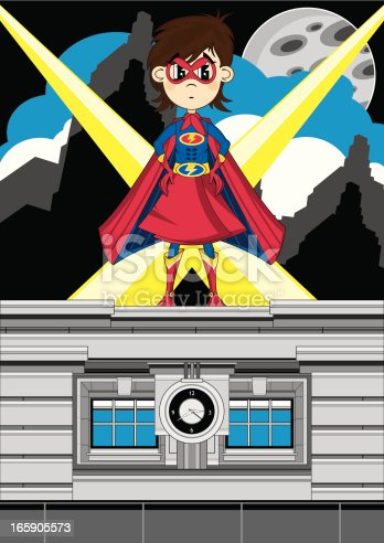 Vector illustration of a cute little Superhero Girl on rooftop scene.