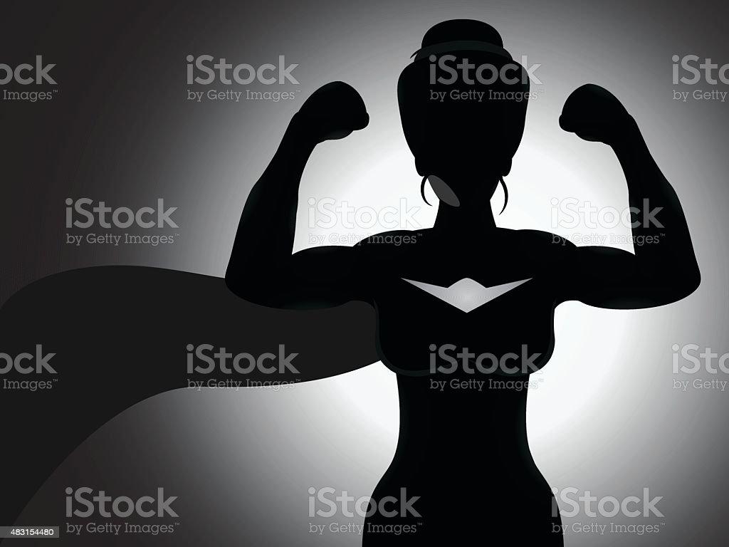 Superhero Girl Silhouette vector art illustration