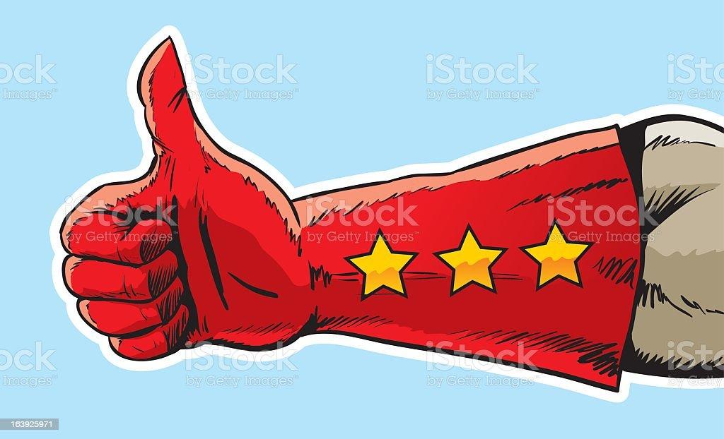 Superhero giving a thumbs up sign vector art illustration