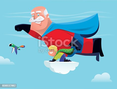superhero grandfather and grandson