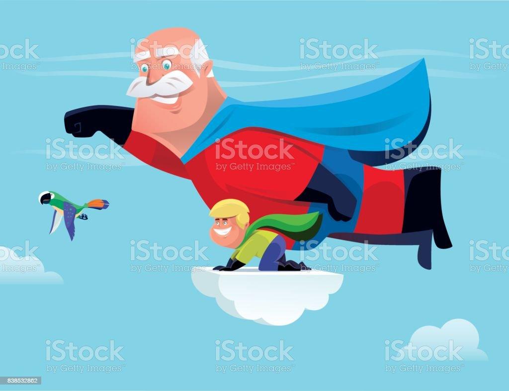 Nieto y abuelo de superhéroe - ilustración de arte vectorial