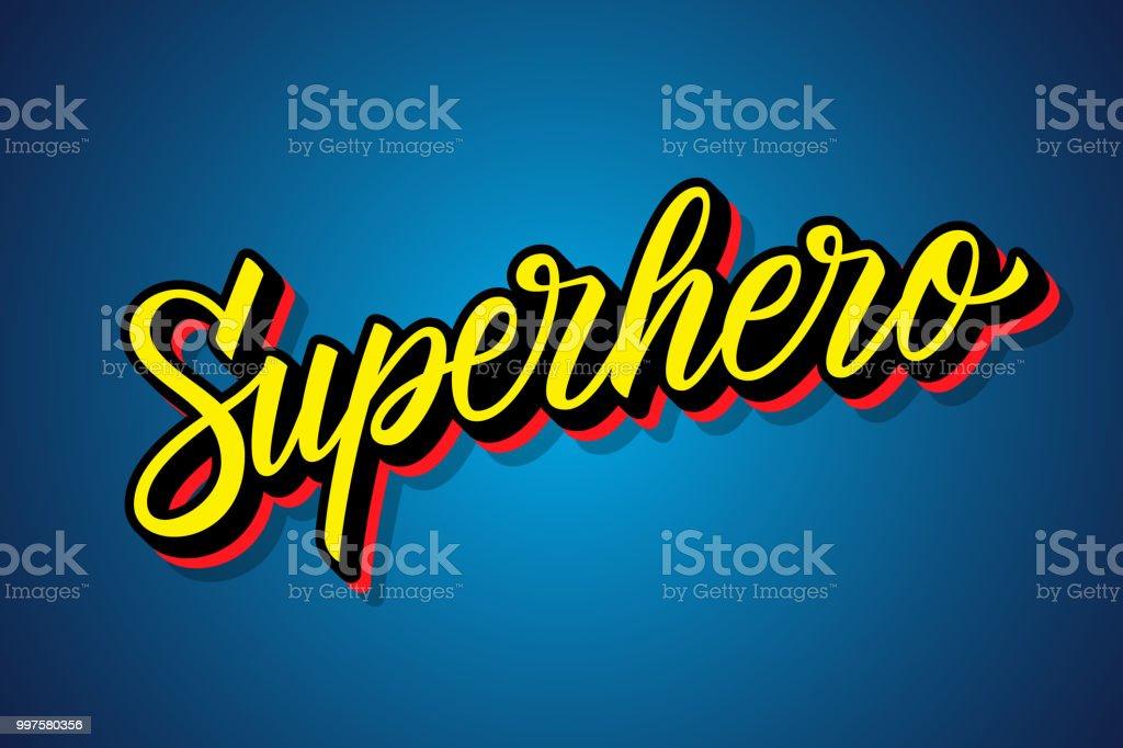 Superheld hand gezeichneten Schrift. Kalligraphische Element für Ihr Design. - Lizenzfrei Blau Vektorgrafik