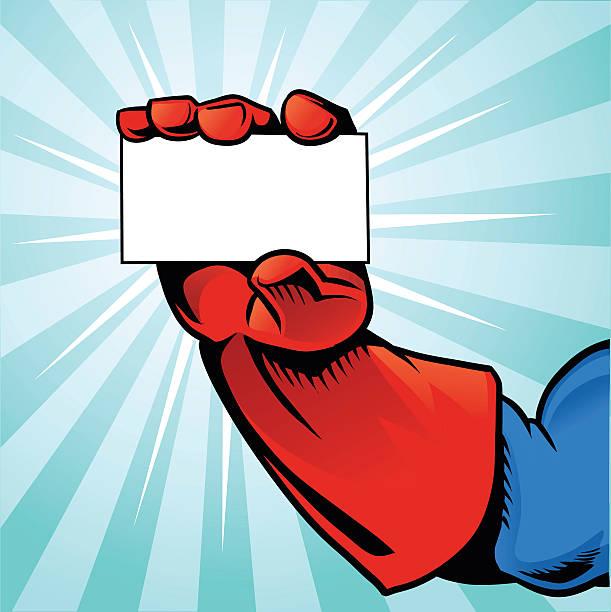 superheld von hand halten visitenkarte-blauen hintergrund - schutzhandschuhe stock-grafiken, -clipart, -cartoons und -symbole