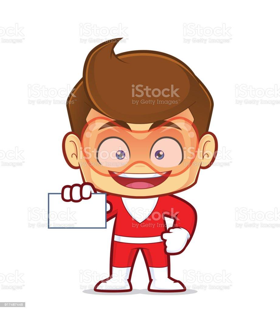 Superhero Holding A Blank Business Card Stock Vector Art & More ...