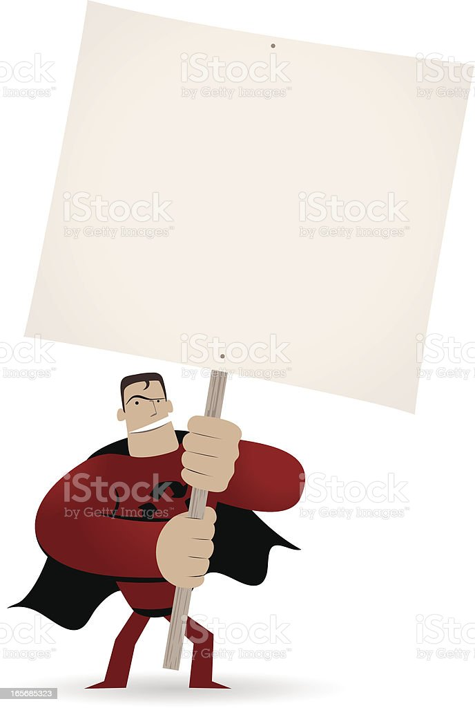 Superhero holding a blank sign for your message royalty-free stock vector art
