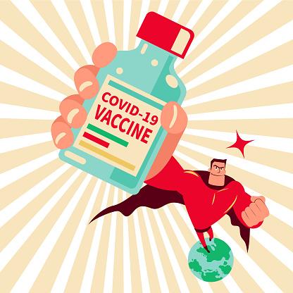Superhero (superman) holding a vaccine bottle flying above the earth protecting against coronavirus disease (COVID-19), creating 100 percent antibody on coronavirus