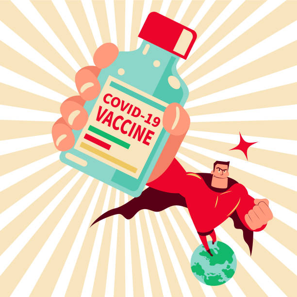 Superhero (superman) holding a vaccine bottle flying above the earth protecting against coronavirus disease (COVID-19), creating 100 percent antibody on coronavirus vector art illustration