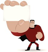 Vector illustration - Superhero holding a white message card.