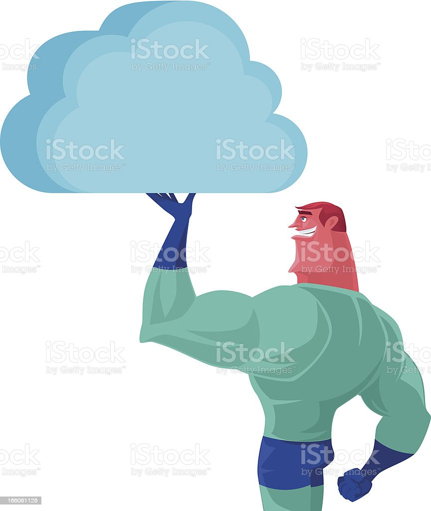 superhero holding cloud royalty-free stock vector art
