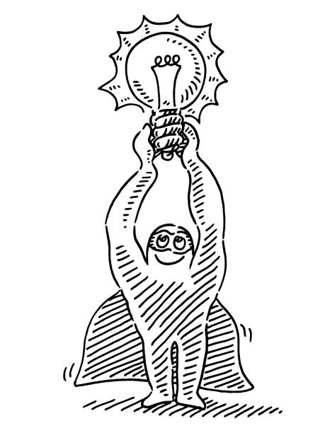 Superhero Holding Illuminated Lightbulb Drawing Hand-drawn vector drawing of a Cartoon Superhero Holding an Illuminated Lightbulb. Black-and-White sketch on a transparent background (.eps-file). Included files are EPS (v10) and Hi-Res JPG. cartoon character figure stock illustrations